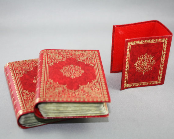 Leather Book Shaped Playing Card Case open