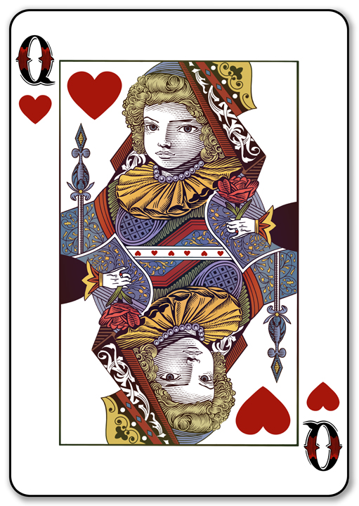 Playing Card Design Queen Of Hearts By Roger Xavier